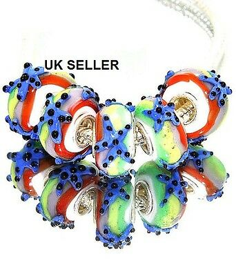 5pcs Silver Murano Glass Lampwork Beads Fit European Charm Bracelet 982a