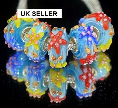 5pcs Silver Murano Glass Lampwork Beads Fit European Charm Bracelet 1103