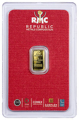 Republic Metals Corporation 1 gram Gold Bar (Sealed w/ Red Assay Card) SKU45741