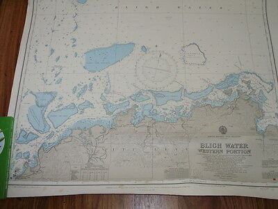 Vintage Nautical Map Fiji Islands Bligh Water Western Portion
