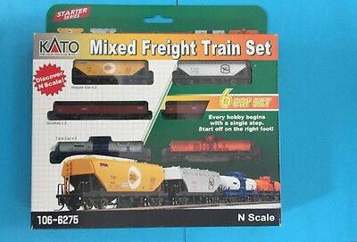 KATO N SCALE MIXED FREIGHT 6 CAR SET tanker, gondola ,hopper 106-6275 NEW