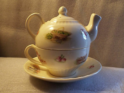 Rare Unused Aynsley Tea For One English Teapot/Cup/Saucer Set