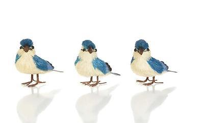 Standing Blue Jay Ornaments~Sage & Co~Set of Three~Sisal Easter Spring Ornaments