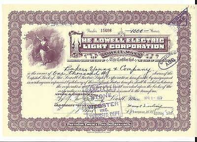 The Lowell Electric Light Corporation (Lowell,mass.)....1927 Stock Certificate