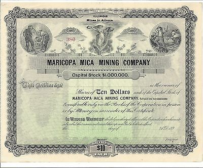 Maricopa Mica Mining Company....1890's Unissued Stock Certificate