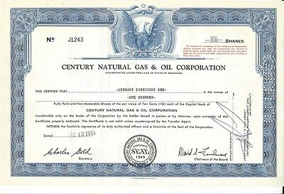 Century Natural Gas & Oil Corporation.....1955 Stock Certificate
