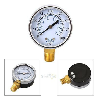 "1/4"" NPT 0-200 PSI Air Compressor Hydraulic Pressure Gauge 2"" Face Side Mount"