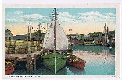 Gloucester Massachusetts - Harbor Scene - Vintage Postcard Pmk 1954