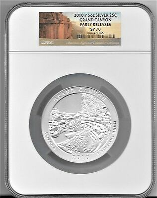 2010 P Grand Canyon 5 oz. Silver 25c SP70 NGC EARLY RELEASES