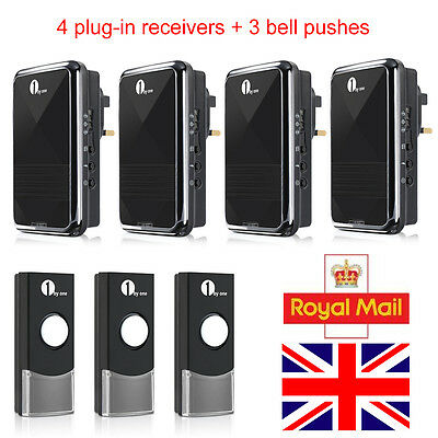 1Byone Easy Match UK Plug-in Wireless DoorBell Chime 4 Receivers + 3 Bell Pushes