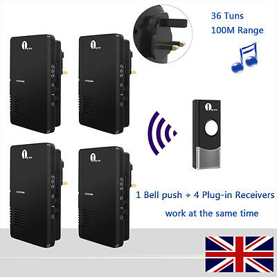 Easy Chime Plug-in Wireless Doorbell Chime 100m Range 36 Tunes With 4 Receivers