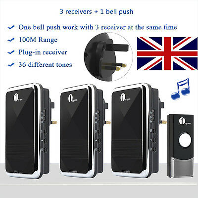 1Byone DIY Portable UK Plug-in Wireless LED Home DoorBell Chime Match 3 Receiver