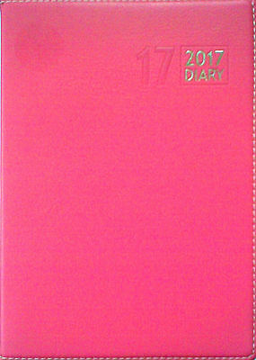A5 2017 PINK Faux Leather Non Step Index Page A Day Appointments Diary/Planner