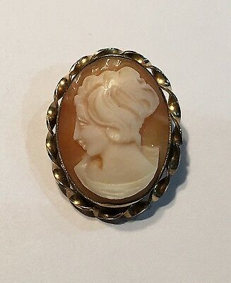 "Vintage Gold Filled Carved Shell 1 1/8"" Cameo Brooch Or Pendant"