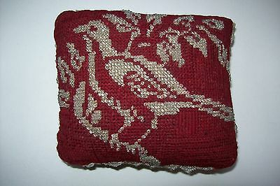 Antique Red Beaded Pin Cushion With Bird On Front