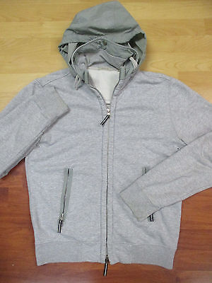 Theory Men's Gray Cotton Full Zip Hooded Sweatshirt - Small