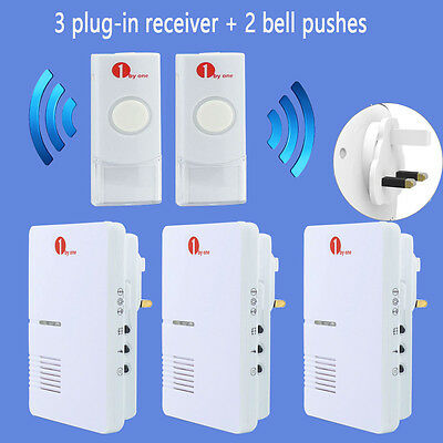 Wireless Plug-in Visitor Doorbell Ring Chime 36 Tones 3 Receiver + 2 Bell Pushes