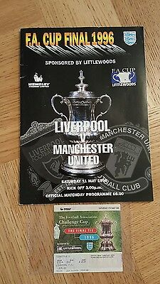 Liverpool V Manchester United 1996 Fa Cup Final Progamme With Ticket