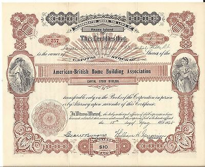 American-British Home Building Association....1929 Stock Certificate