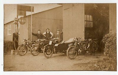 RPPC Levis Motorcycles Sidecar outside Garage Lincolnshire Reg Nos superb image
