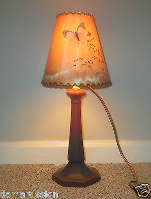 VAN BRIGGLE Art Pottery TALL 1920's Lamp Marked USA w/Shade MISSION STICKLEY