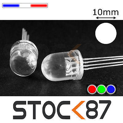 751# 5 à 50pcs LED RGB ronde 10mm anode commune - RGB common anode