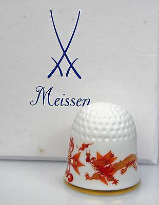 thimble porcelain red dragon Meissen with swords inside handpainted Germany new