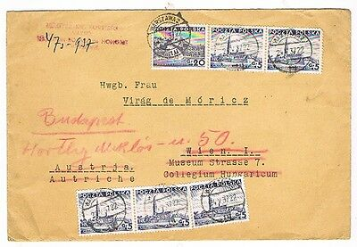 POLAND, 1937 letter to Vienna and Hungary