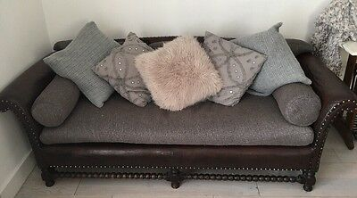 Vintage Antique 1920s Distressed Leather 3 Seater Sofa Lounge Restored