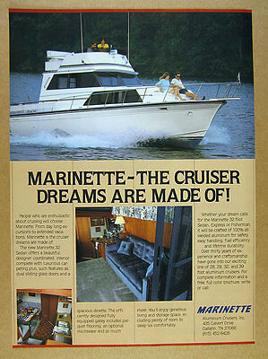 1986 Marinette 32 Sedan boat yacht 3x color photo vintage print Ad