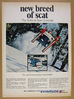 1969 Evinrude Bobcat Snowmobile jumping jump color photo vintage print Ad