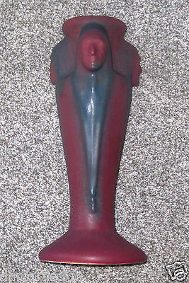 """☆ Huge VAN BRIGGLE Art Pottery Vase 3 Indian Chiefs - 12"""" Tall Mulberry 1930's"""