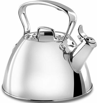 New All-Clad E86199 Stainless Steel Specialty Cookware Tea Kettle, 2-Qt, Silver