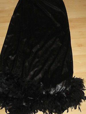 LONG BLACK PVC Fake Leather WITCH GYPSY FEATHER TRIM SKIRT Goth Fantasy Costume