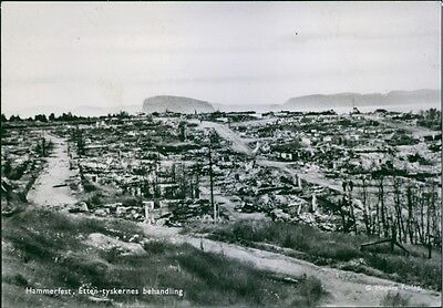 Vintage photo of A view of the war damages in Hammerfest in Norway.