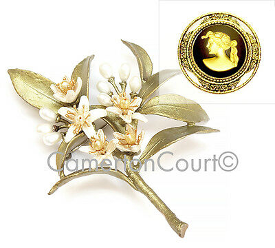 Orange Blossom Brooch Pin by Michael Michaud + FREE Wedgwood Gift!