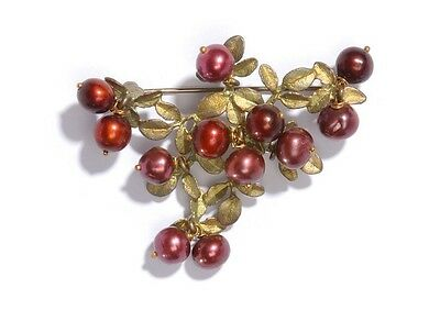 Cranberry Brooch Pin by Michael Michaud for Silver Seasons #5669BZCR