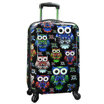 """Cute Unique Owl Print 22"""" Carry-on Expandable Hardside Spinner Luggage Suitcase"""