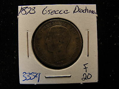 1873 A Greece Drachma Silver Coin Fine Details Scratched #3359
