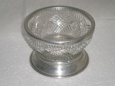 Vintage Pressed Glass Bowl / Bon Bon Dish With Silver Coloured Rim And Foot