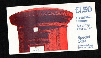 £1.50 pillar box cyl booklet B17B8, good perfs FP1A, fine