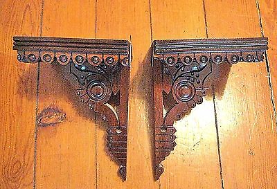 Antique Victorian Eastlake Pr Of Wall Shelves Ornately Carved~Fabulous!