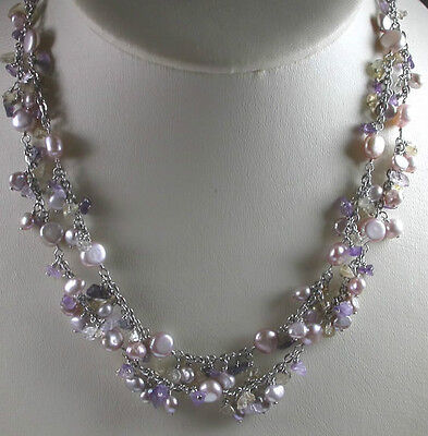 Pearl Amethyst Citrine Necklace and Earring Set in Sterling Silver