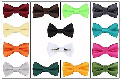 Boys Solid Bow tie Clip On Green Gold Orange Yellow Red Blue Brown Silver Gray