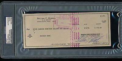 Signed BILL RUSSELL Personal Check Autographed PSA/DNA Authentic