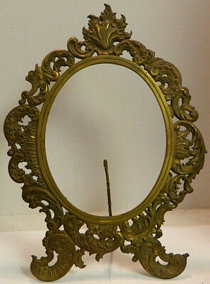 Antique Victorian Ornate  Self Standing Oval Brass Picture / Mirror Frame VG