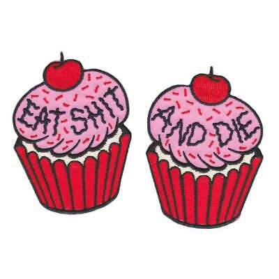 Sourpuss Cupcake Set Of 2 Iron On Patch Punk Rockabilly Pinup Tattoo Embroidered