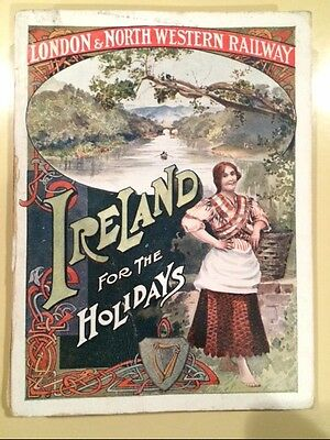 1907 London & North Western RAILWAY Travel Booklet Ireland for Holidays w MAP