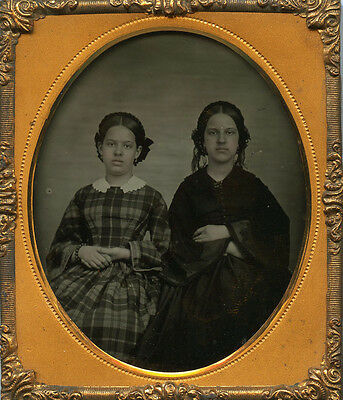 Young Ladies Sisters Fashion Dated 1857 Tinted Cheeks Sixth Plate Ambro