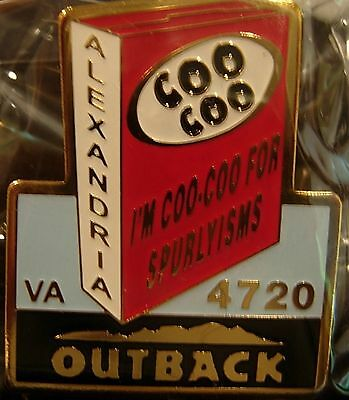 J6002 Outback Steakhouse Alexandria I'm Coo-Coo for Spurlyisms hat lapel pin